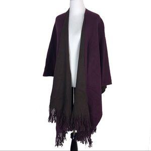 NWT CEJON Purple Brown Fringe Blanket Wrap Poncho